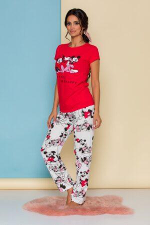 Pijama  cu tricou rosu si pantaloni albi cu imprimeu