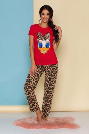 Pijama  cu tricou rosu si pantaloni cu animal print