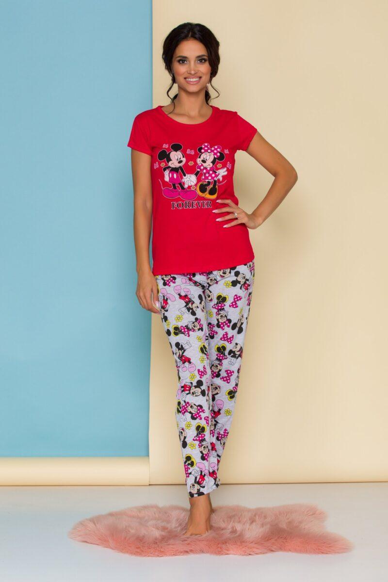 Pijama  cu tricou rosu si pantaloni gri