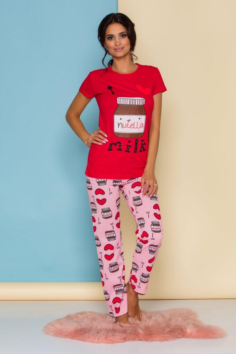 Pijama  cu tricou rosu si pantaloni roz