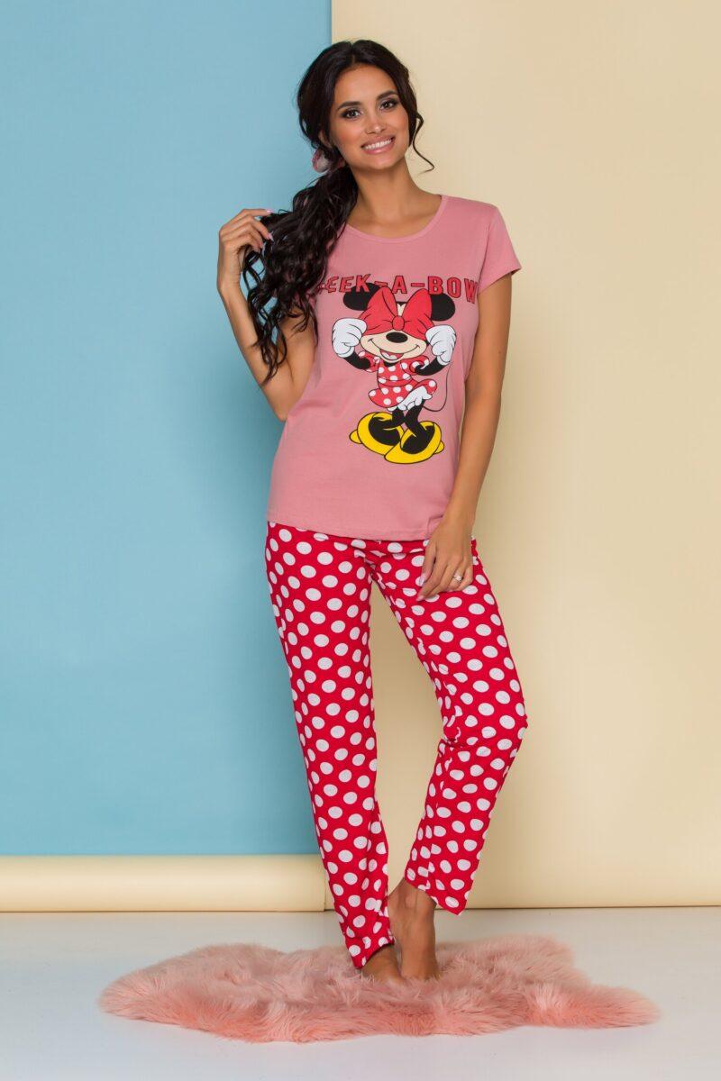 Pijama  cu tricou roz Minnie Mouse si buline