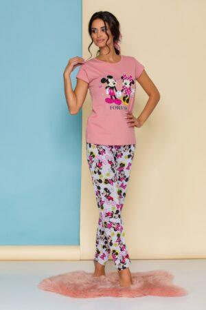 Pijama  cu tricou roz si pantaloni gri