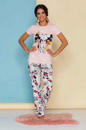 Pijama  cu tricou roz somon si pantaloni albi cu imprimeu