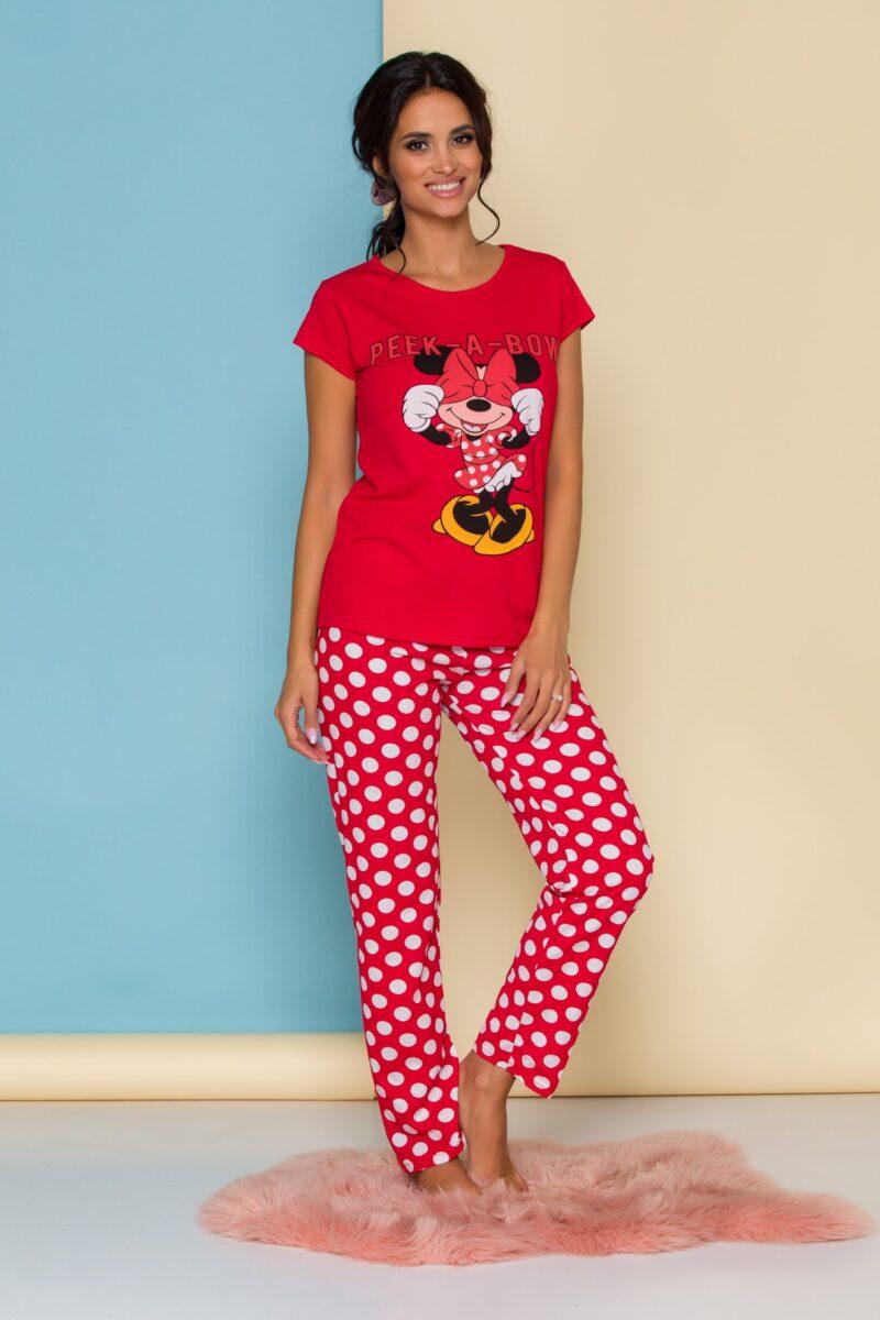 Pijama  rosie cu Minnie Mouse si buline