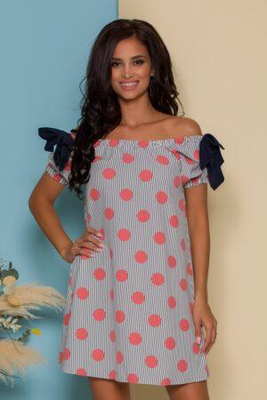 Rochie alba cu imprimeu divers cu dungi bleumarin si buline roz
