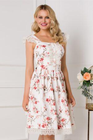 Rochie alba cu imprimeu floral si broderie la umeri si baza