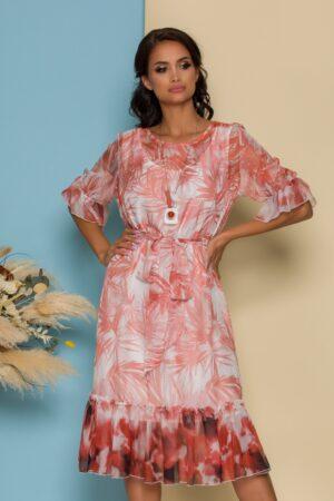 Rochie alba cu imprimeuri caramizii