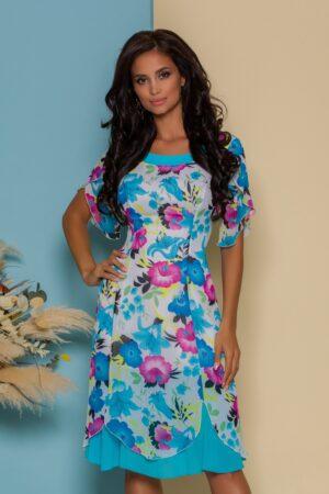 Rochie alba cu imprimeuri florale albastre si fucsia