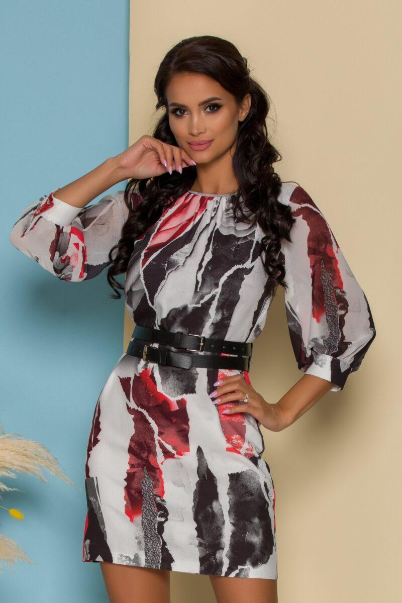 Rochie alba cu imprimeuri rosii
