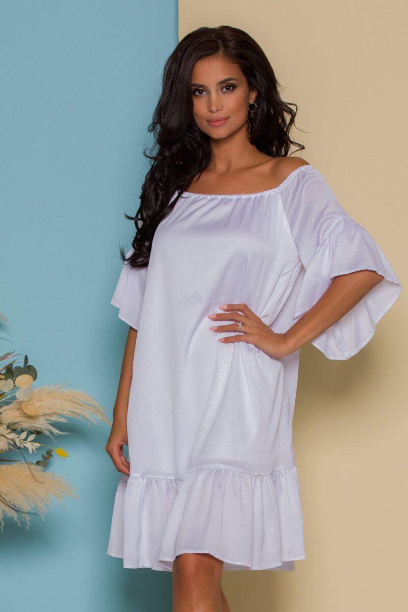 Rochie alba din satin cu volane