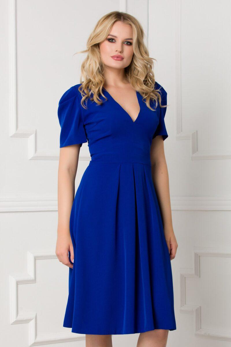 Rochie albastra clos cu nasturi pe spate