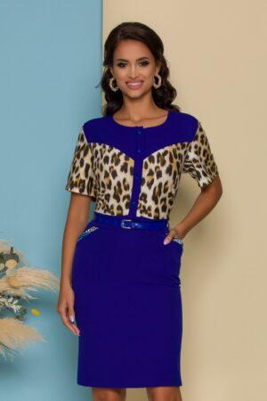 Rochie albastra cu imprimeu animal print si curea in talie