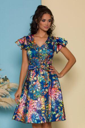Rochie albastra cu imprimeu floral bleu si cordon in talie