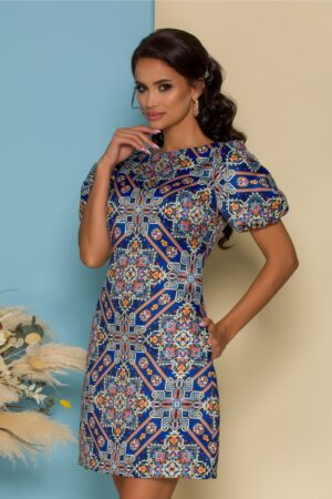 Rochie  albastra cu imprimeuri dinamice