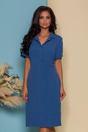 Rochie albastra cu insertii metalice