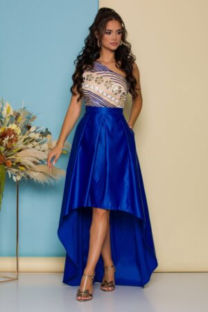 Rochie albastra cu lungime asimetrica si broderie din paiete la bust