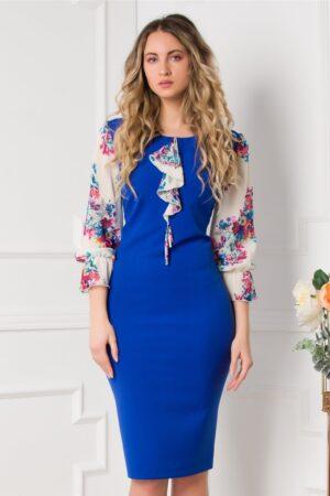 Rochie albastra cu maneci ivory si volan la bust