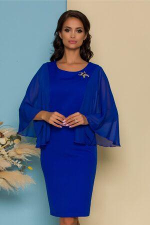Rochie albastra cu maneci vaporoase din voal