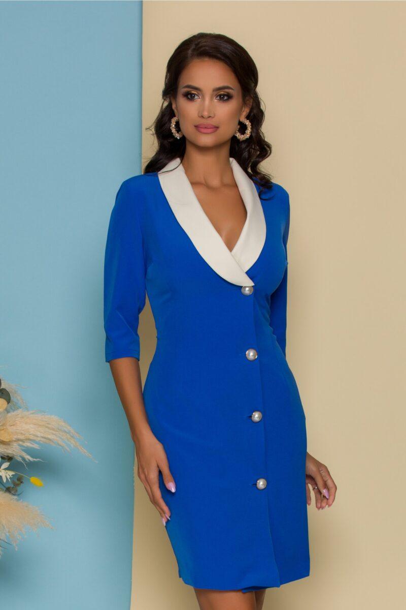 Rochie albastra cu un rand de nasturi si guler sal