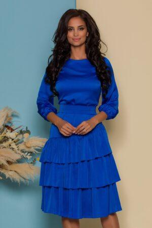 Rochie albastra cu volane la baza