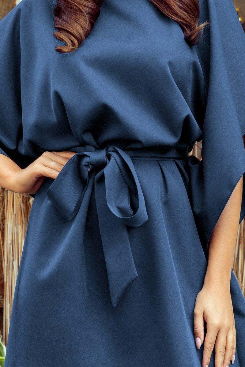 Rochie albastra de zi cu maneci largi si curea in talie