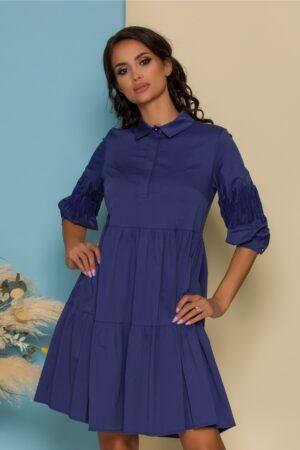 Rochie albastra evazata cu insertii pe maneci