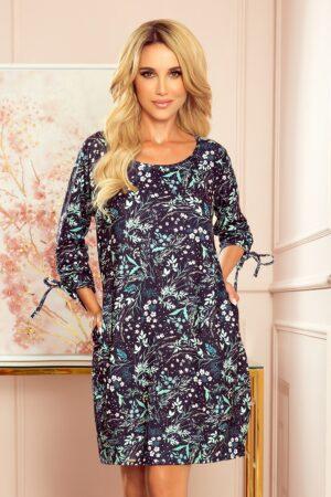 Rochie albastra larga cu imprimeu floral
