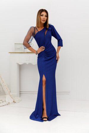 Rochie  albastra lunga din lurex cu flori 3D si tull cu glitter