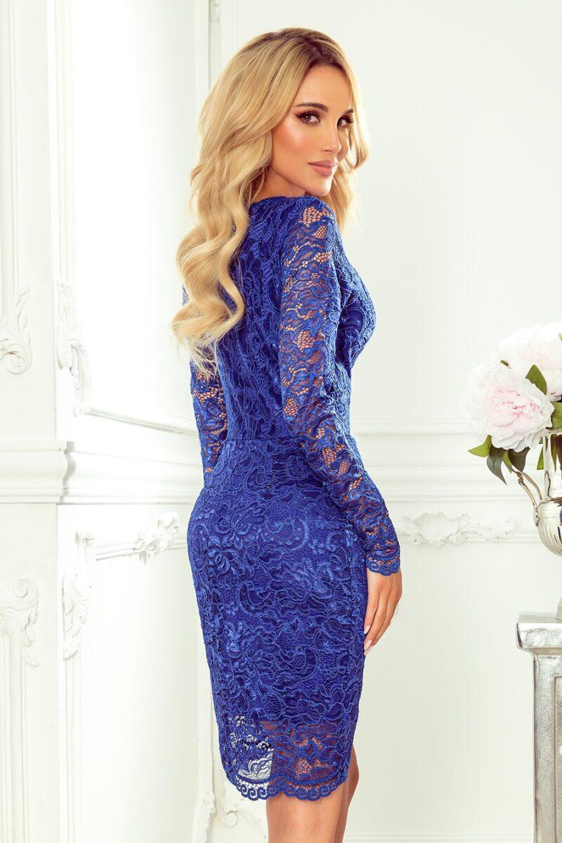 Rochie albastra midi cu maneci lungi