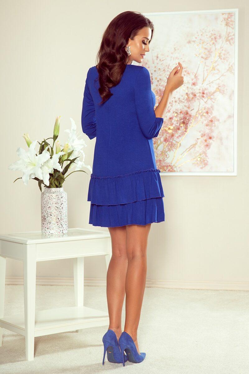 Rochie albastra midi cu volane 2