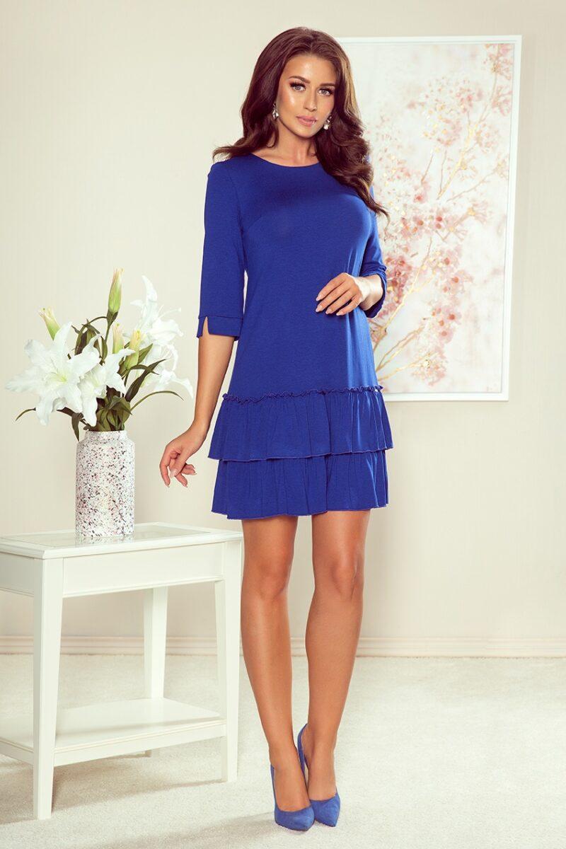 Rochie albastra midi cu volane 3