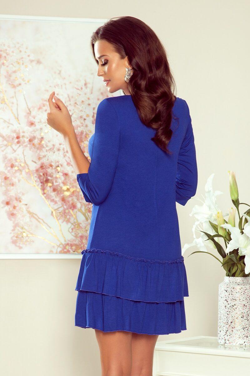 Rochie albastra midi cu volane 4