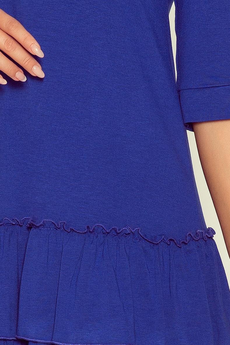 Rochie albastra midi cu volane 5