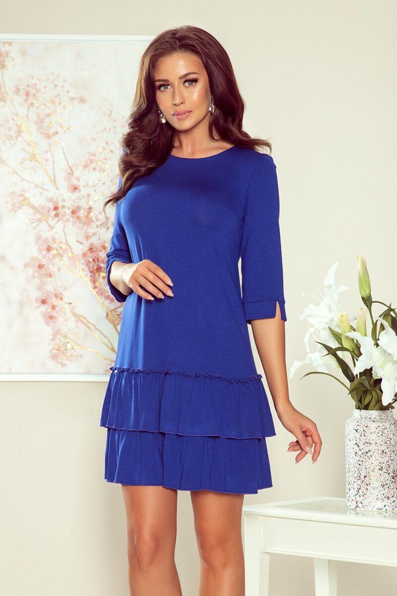 Rochie albastra midi cu volane