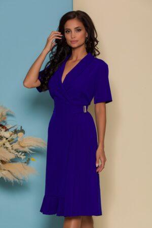 Rochie albastra petrecuta cu pliuri pe o parte si maneci scurte