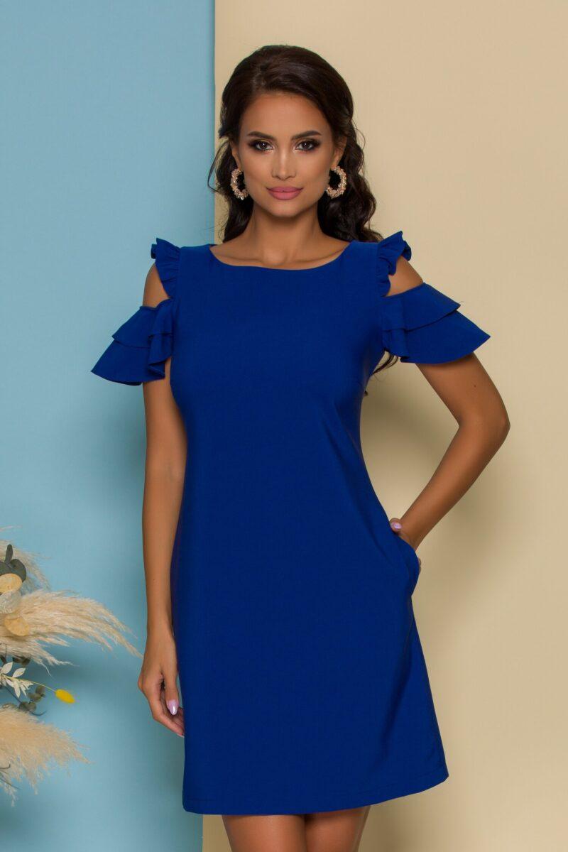 Rochie albastru inchis cu decupaje la umeri si buzunare functionale
