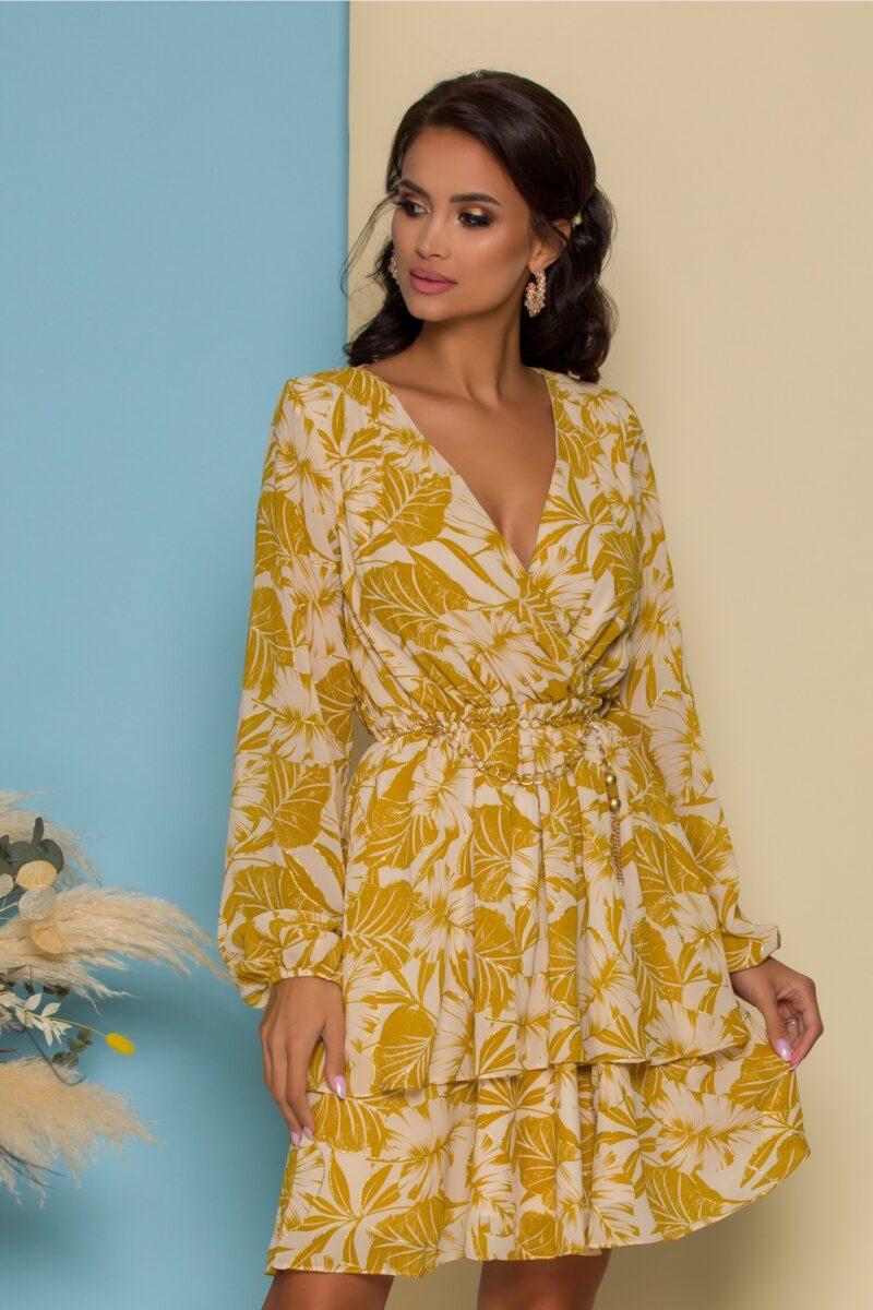 Rochie bej cu motive florale galben mustar si curea tip lant in talie