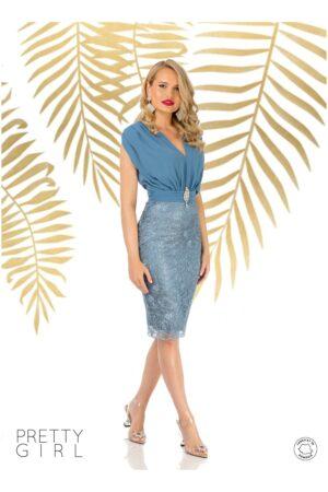 Rochie  bleu cu aspect de doua piese
