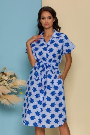 Rochie bleu cu dungi si broderie albastra