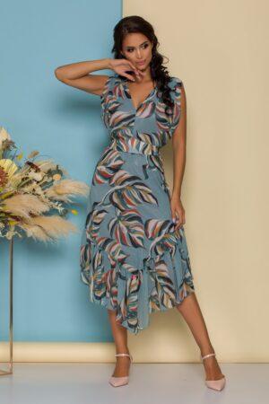 Rochie bleu cu imprimeuri