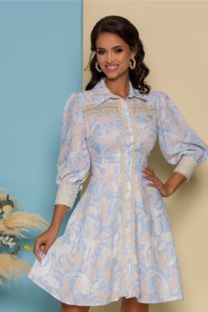 Rochie bleu cu imprimeuri bej