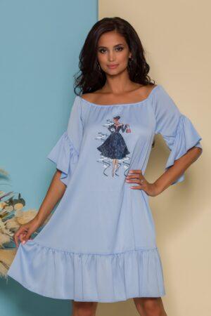 Rochie bleu din satin cu volane si imagine imprimata pe fata