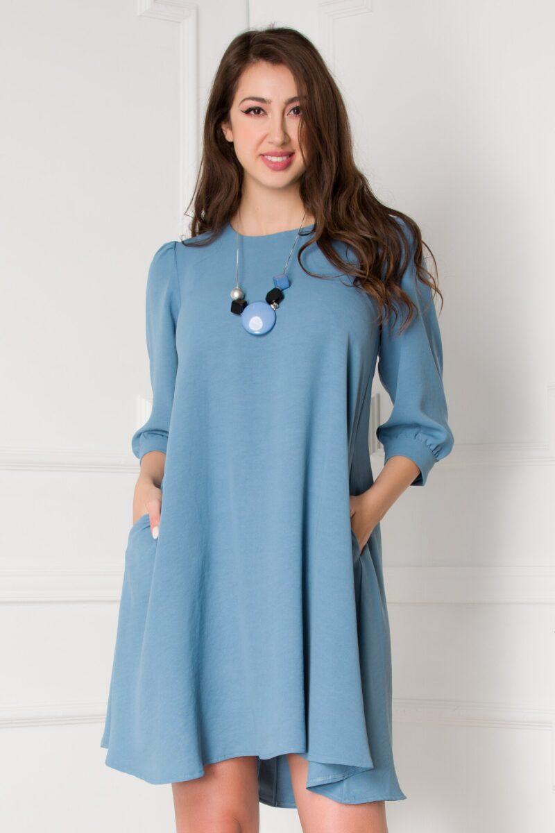 Rochie bleu vaporoasa cu nasturi la spate