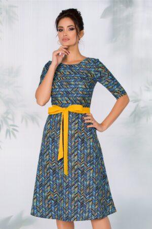 Rochie bleumarin cu dungi multicolore