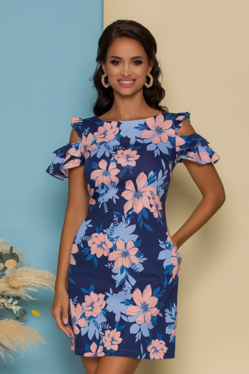 Rochie  bleumarin cu imprimeu floral maxi si buzunare functionale
