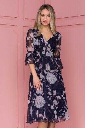 Rochie  bleumarin cu imprimeuri florale