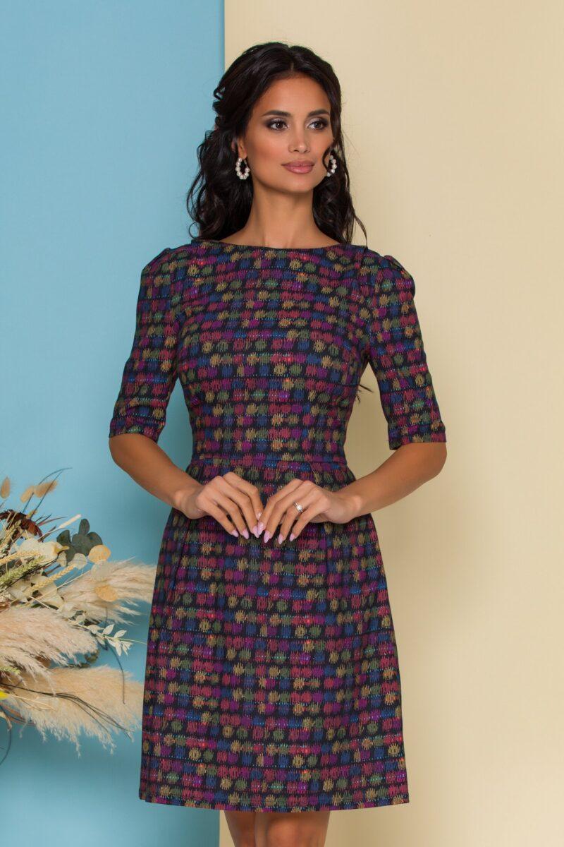 Rochie bleumarin cu insertii colorate