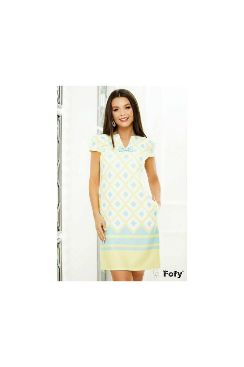 Rochie cu imprimeu geometric turquoise si galben pastel
