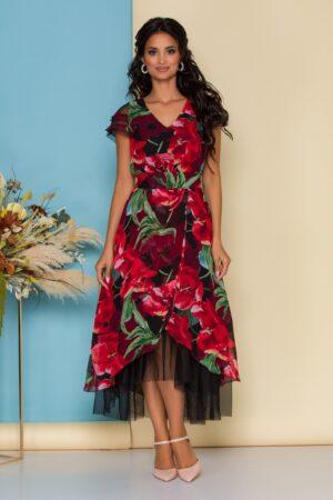 Rochie cu imprimeuri florale rosii maxi
