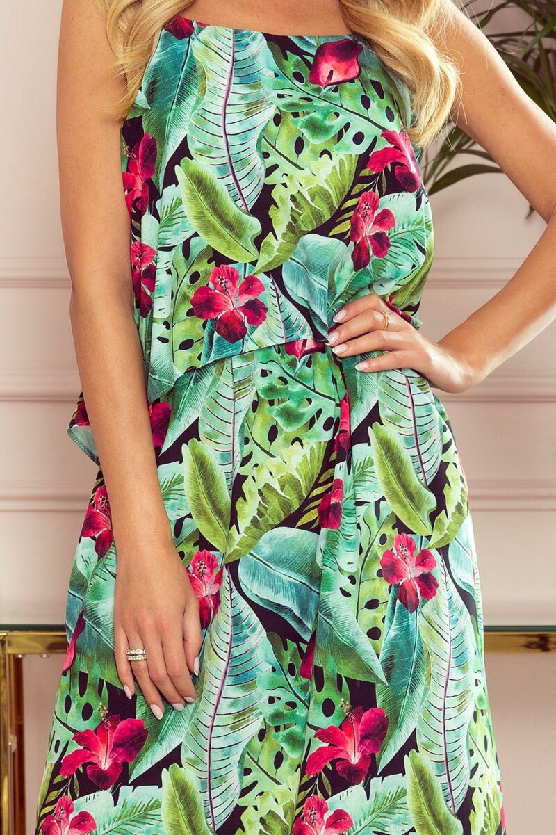 Rochie de vara lunga cu imprimeu cu flori si frunze
